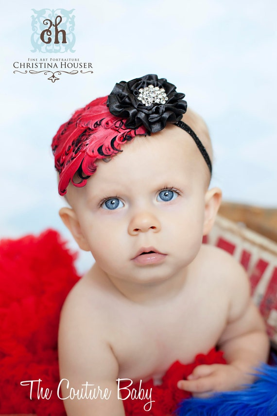 Red Black Curly Feather Pad Flower Crystal Newborn, Infant, Toddler Big Girl Glitter Headband  Red and Black Girls Photo Prop Headband