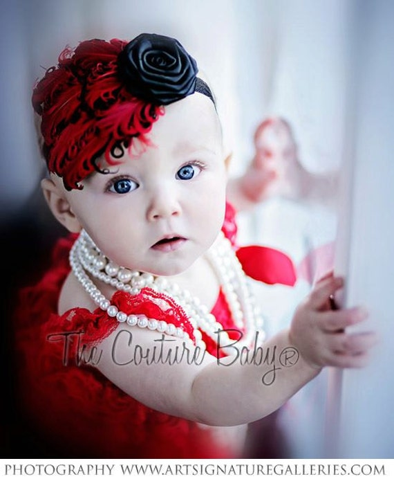 RED and BLACK  Shabby Chic Feather Pad Accent with satin rosette rolled flower Headband Photography Prop