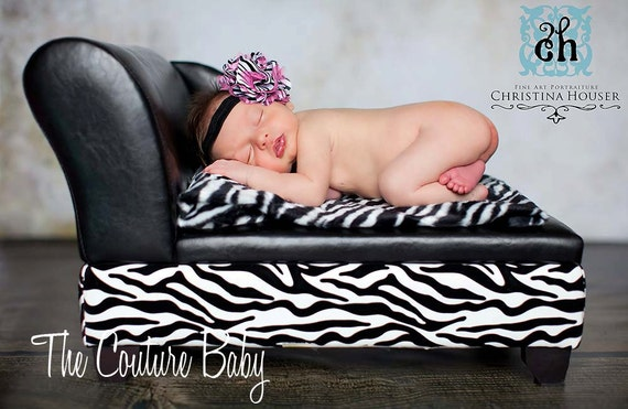 Zebra and Hot pink Satin and tulle Poof Headband