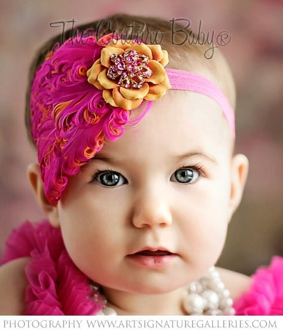 Hot Pink and Orange Feather Pad  Rhinestones Headband Newborn Infant Toddler Big Girl Photography Prop