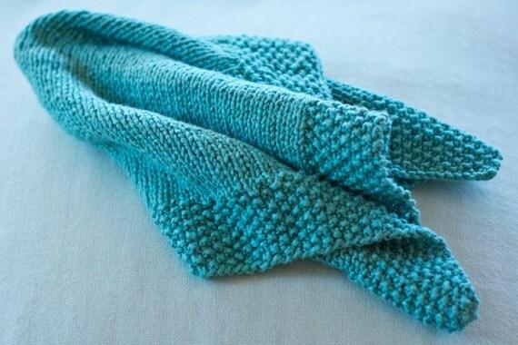 hand knit baby blanket - ocean blue - soft cotton - mini comfort blanket