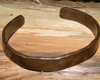 "Rustic Copper Cuff Bracelet 1/2"" Wide - Hand Forged (08)"