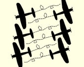 Vinyl Wall Ariplane Kit- 6 Airplane Decals You Pick your Color