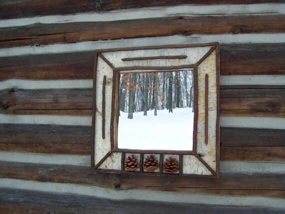 Rustic Twig Birch Mirror