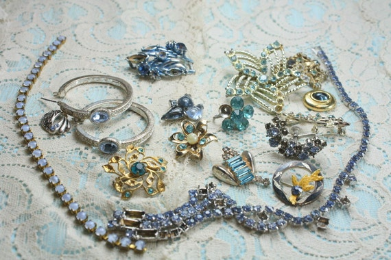 Shades of  BLUE  Destash Craft Lot of Colorful  Rhinestone Jewelry Parts and Pieces for Repurposing