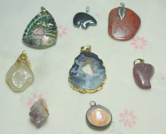 Destash  Craft Lot of Nice Vintage and Salvaged Glass and Stone Pendants