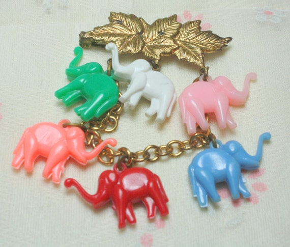 Vintage 1930s Celluloid Colorful Dangling  Elephant  Brooch with C Clasp WHOLESALE PRICE