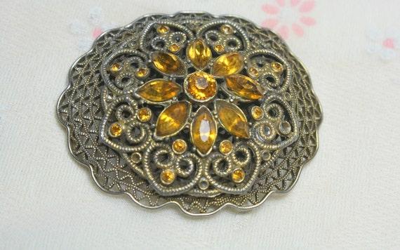 ROMANTIC Broken But Beautiful Vintage Art Deco Brass Filigree and Orange Rhinestone Brooch with C Clasp
