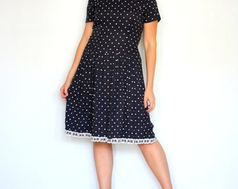 Navy polka dots and lace babydoll - blue-Vintage dress- Up cycled- nautical