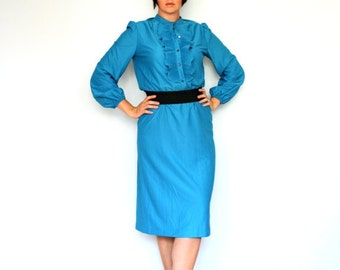 Sale- Teal ruffles- Vintage dress- bright- size large