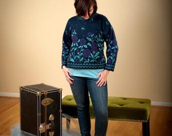 Sale- Knit Roses-Navy Teal and Purple- Vintage crop Sweater -Medium