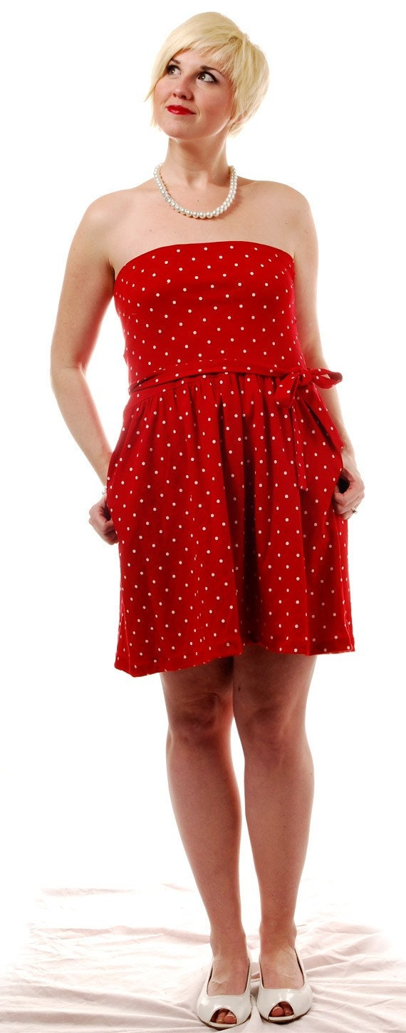 vintage dress Candy Red Polka Dot Up-cycled /L