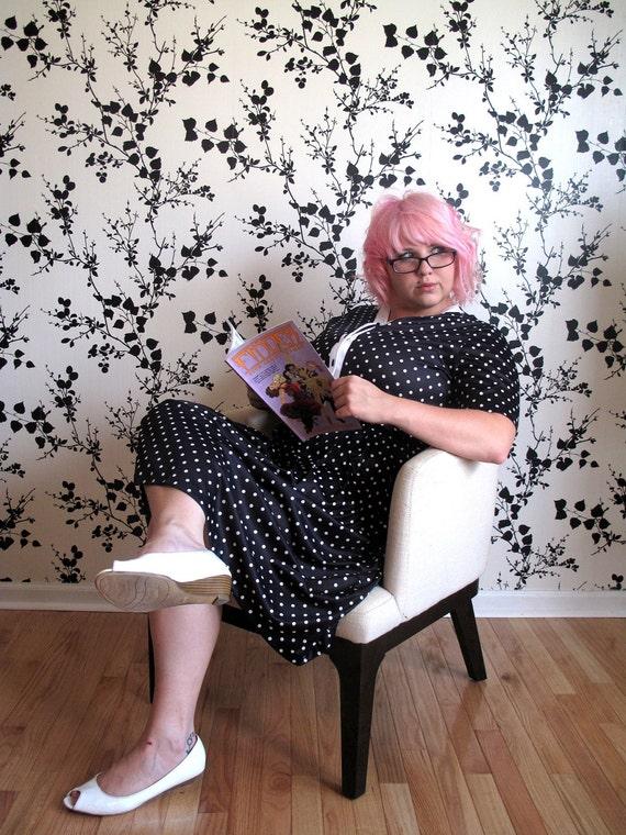 Vintage dress Polka Dot -plus size dress -