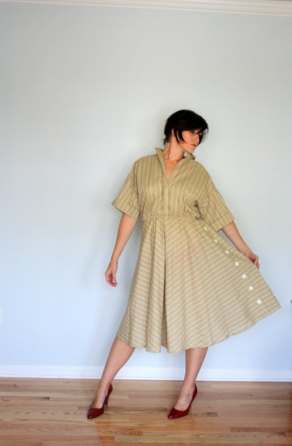 Vintage Dress- Stripes and Buttons In Cream- Plus size