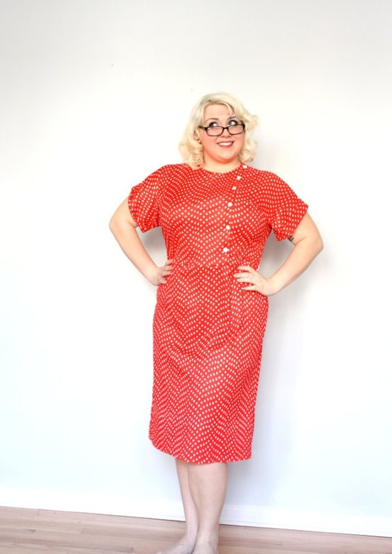 Polka Dot Valentine -plus size vintage dress - red and white