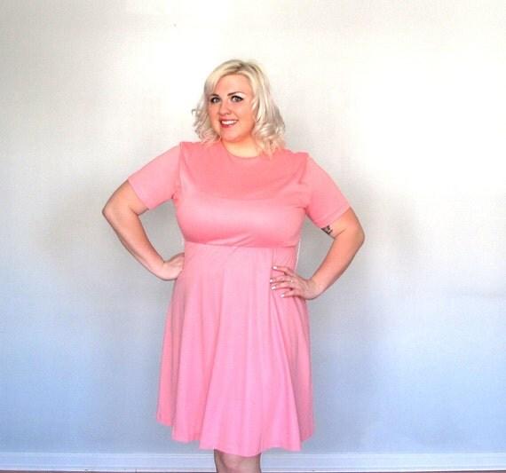 Plus size Vintage dress xxl pink dress Simple Soft Salmon
