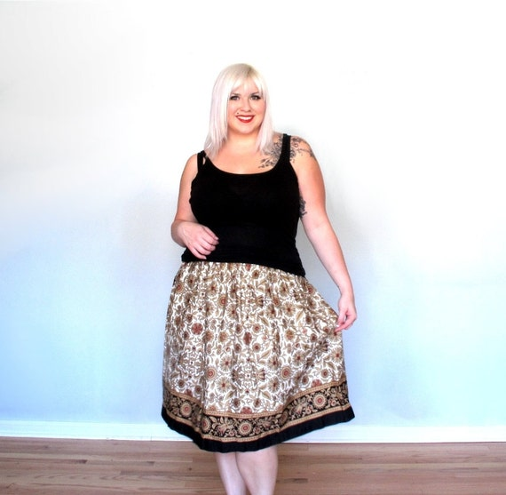 Brocade Garden- Skirt - Vintage Clothing- Plus size