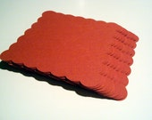 Red scallop square 2.75 inches set of 100