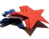Red White and Blue STARS 2.5 inches set of 75