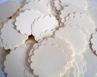 Off White scallop circles 2 inches set of 50