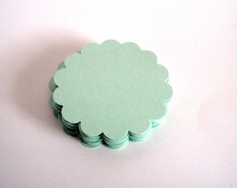 Seafoam Green scallop circles 2 inches set of 50