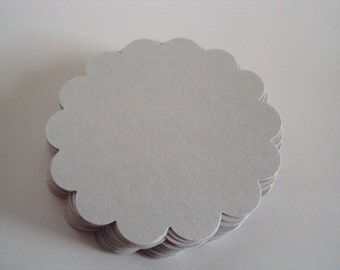 Gray scallop circles 2 inches set of 50