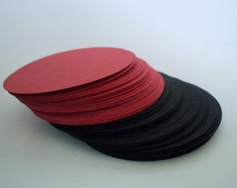 Red and Black Circles 2.5 inches set of 50