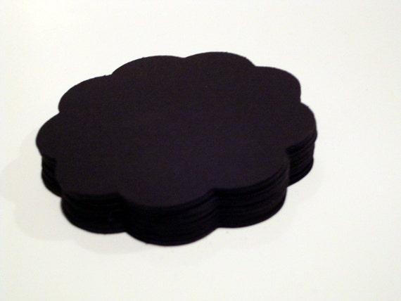 Black scallop circles 3 inches set of 100