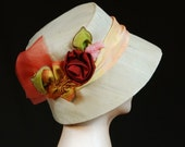 HOLIDAY GIFT SALE! Rose's Edge Silk Cloche Hat by MaryGwyneth Fine Wearable Art Handmade Christmas Gift One of a Kind Derby Hat