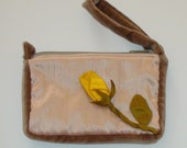 Pink Silk Cell Phone Bag, Yellow Rose Bud, Golden Garden Collection
