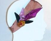 Silk Elastic Headband Lavender and Purple Calla Lilly Hair Fascinator