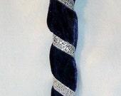 INVENTORY REDUCTION SALE!  Blue Velvet Silver Clip Headband, Handmade Gift by MaryGwyneth