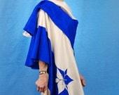 INVENTORY REDUCTION SALE Silk Applique Blue White Wrap Shawl Cape Art Jacket Handmade Gift by MaryGwyneth Fine Wearable Art