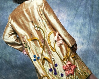 CLEARANCE SALE! Golden Garden Coat and Hat, Mother of the Bride Couture Art Jacket Designer Sample by MaryGwyneth