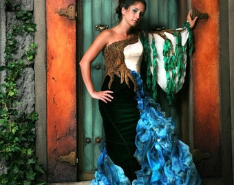 Designer SAMPLE SALE! Willow and Stream Gown by MaryGwyneth Fine Wearable Art, Handmade Christmas OOAK couture designer sample