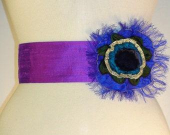 HOLIDAY GIFT SALE!  Purple Rosette Belt in Silk Dupioni and Velvet Handmade Christmas Gift by MaryGwyneth Fine Wearable Art