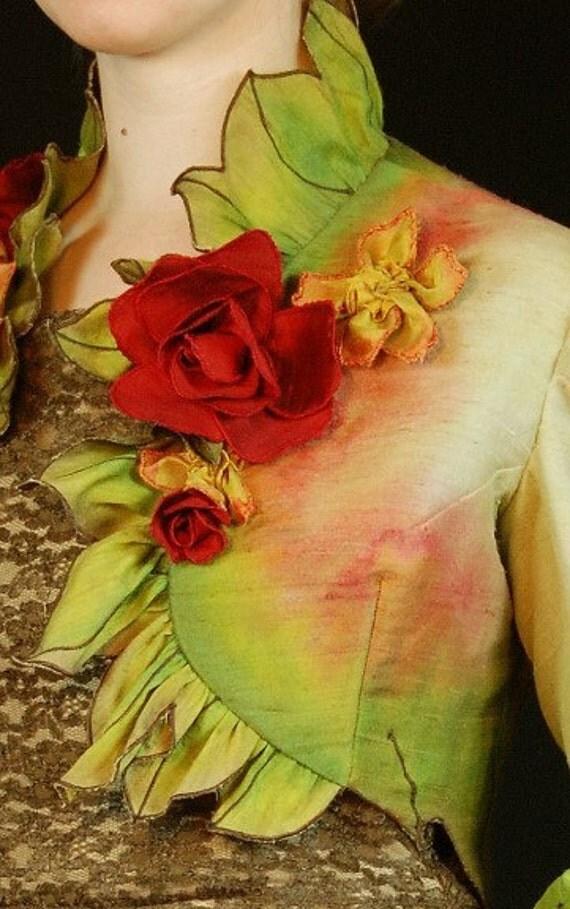 INVENTORY REDUCTION SALE Rose's Edge Ruffled Jacket, Painted Silk Art Jacket by MaryGwyneth Fine Wearable Art
