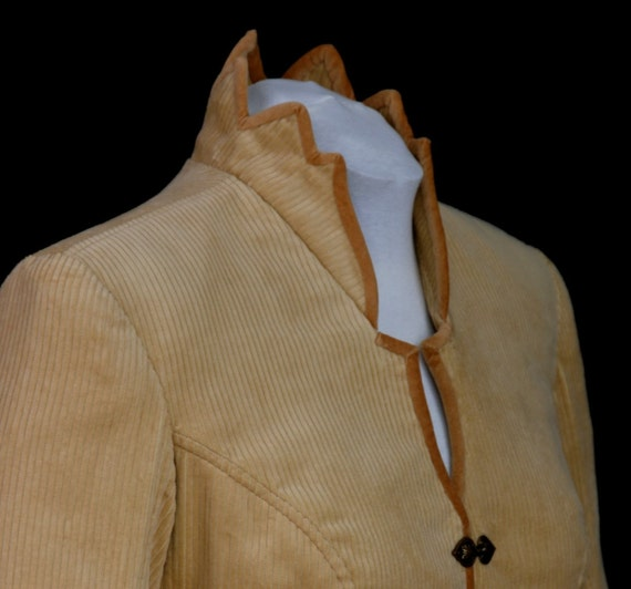 CLEARANCE SALE! Tan Corduroy Tailored Art Jacket, Velvet Piping, Handmade Gift from White Peacock Collection by MaryGwyneth