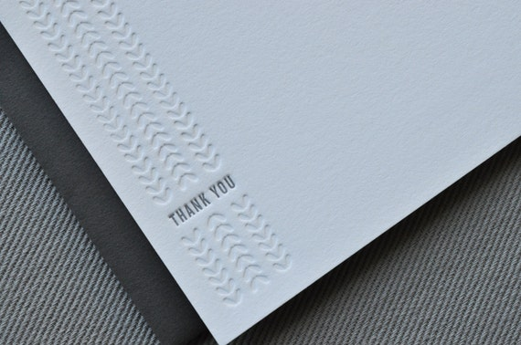 RESERVED for worldofimagine // pattern and heart thank you letterpress cards