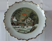 Vintage Plate Currier and Ives farmers home plate