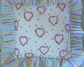 Girls Bedroom Decor Beaded Hearts Handmade Princess Pillow shipping included