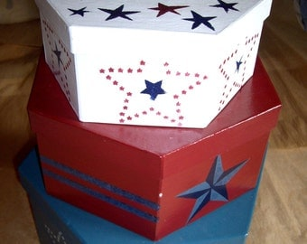 Handpainted  4 piece set sign and storage boxes Americana patriotic style