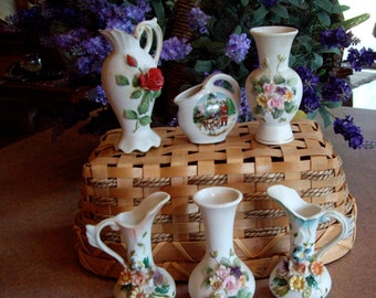 Japan Mid Century Porcelain Vase Collection 1950s price is for all 5 remaining vases