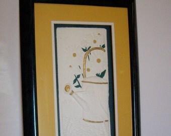 Vintage Daisies embossed art framed triple matted elegant home decora 1990