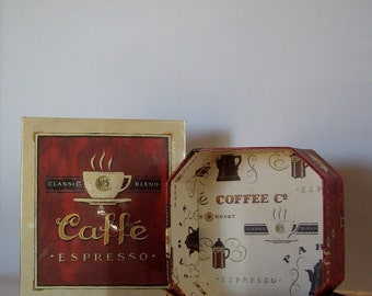 Vintage coffee photo album and decorator storage box 1992