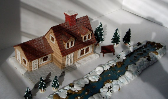 Vintage Collectible Collectable Ryron Mold Farmhouse Stream Barn Windmill 1979