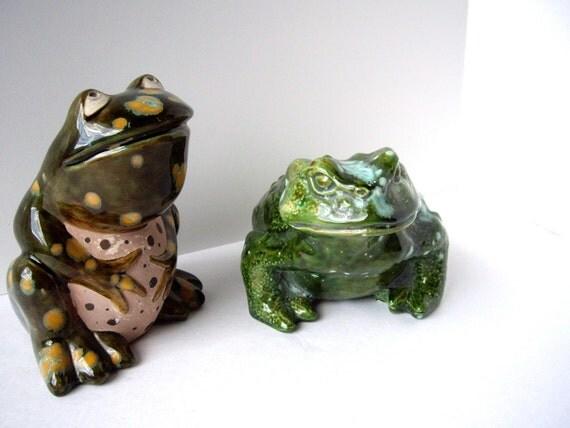 Frog Figurines Vintage Handmade Signed 1963