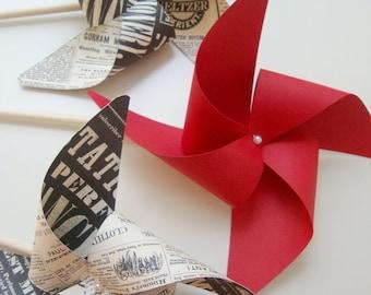 VINTAGE INSPIRED plus RED set of 3 Large Pinwheels