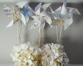 Shabby chic pinwheels set of 6