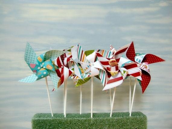 Last Set  CIRCUS CARNIVAL set of 10 mini pinwheels